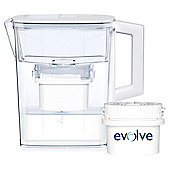 Aqua Optima Evolve 2.1 Litre Compact Water Filter Jug, 1 Month Pack
