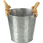 Parlane Metal Garden / Utensil Pot / Planter With Jute Handles - 19 x 20cm