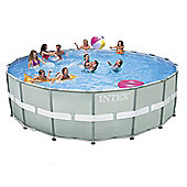 "Intex Ultra Frame Round Saltwater Metal Pool 18ft x 52"" With Sand Filter - 28336"