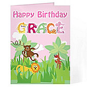 Personalised Animal Alphabet Card - Pink