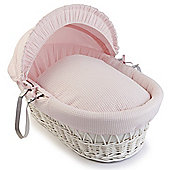 Clair de Lune White Wicker Moses Basket (Soft Cotton Waffle Pink)