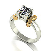 18ct White Gold with yellow gold accents 5.5mm Square Brilliant Moissanite Ring
