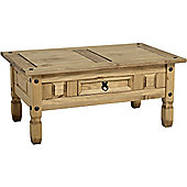 Corona Mexican 1 Drawer Coffee Table Distressed Waxed Pine