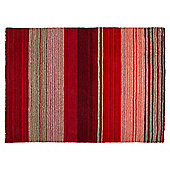 Tesco Thin Wool Stripe Rug 160X230, Red