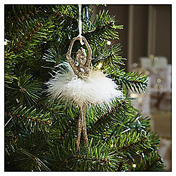Gold Glitter Ballerina Christmas Tree Decoration