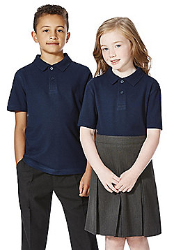 F&F School 2 Pack of Unisex Polo Shirts with As New Technology - Navy