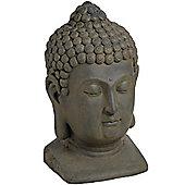 Indoor / Outdoor Garden Buddha Head Ornament - Grey / Brown