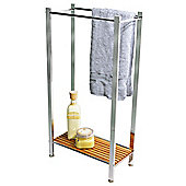 Bamboo - Bathroom Towel Rail / Storage Shelf - Silver / Natural