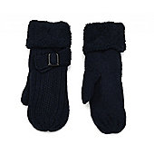 Navy Blue Buckle Cosy Mittens