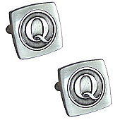 Antiqued Silver Plated Initial - Q Cufflink - Single