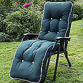 Swift Garden Furniture Tivoli Boxed and Piped Automatic Reclining Lounger with Cushions - Hunter