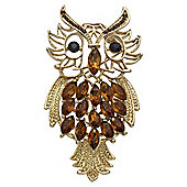 Gold Plated Topaz Crystal Owl Brooch
