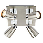 Contemporary Satin and Polished Chrome 4 Arm Ceiling Spotlight Fitting