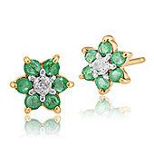 Gemondo 9ct Yellow Gold 0.33ct Emerald & Diamond Classic Cluster Stud Earrings