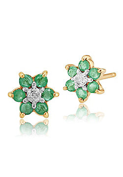 Gemondo 9ct Yellow Gold 0.33ct Emerald & Diamond Classic Cluster Stud Earrings