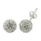 Jewelco London Rhodium-Coated Sterling Silver Crystal Shamballa Earrings