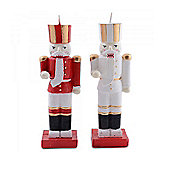 Set Of Two Traditional Nutcracker Christmas Candles