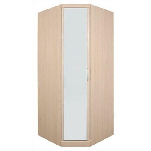 Caxton Strata Corner Mirrored Wardrobe in Pearwood