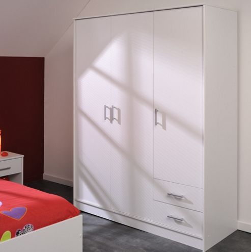 Parisot Essential Wardrobe with 3 Doors and 2 Drawers - White Megeve