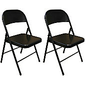 Pack of 2 Chairs - Black Metal Folding Office, Computer, Desk Chairs