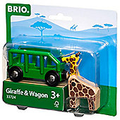 Brio 33724 Safari Wagon & Giraffe For Wooden Train Set
