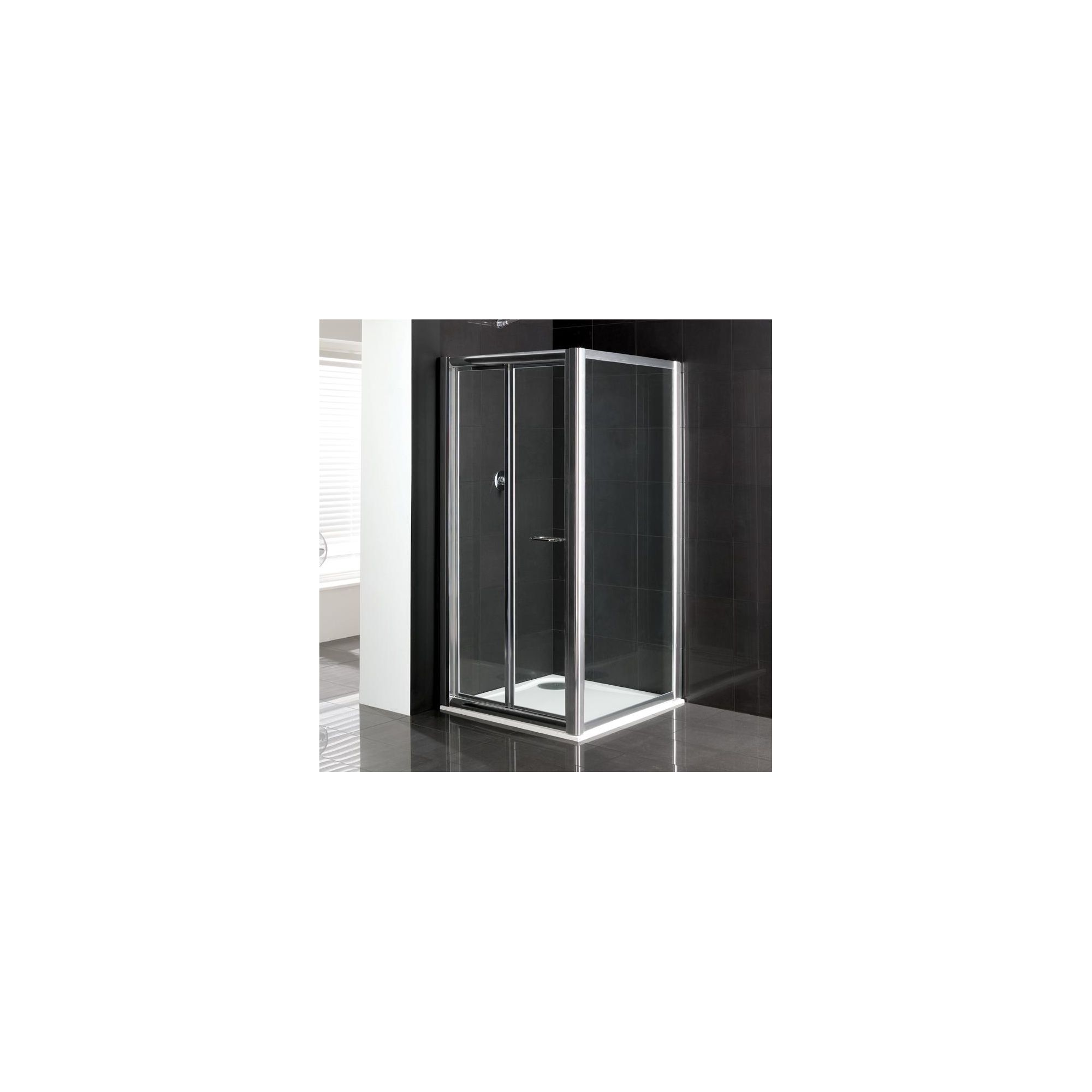 Duchy Elite Silver Bi-Fold Door Shower Enclosure with Towel Rail, 900mm x 760mm, Standard Tray, 6mm Glass at Tesco Direct