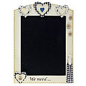 Heart Wall Mounted Blackboard - Cream / Blue