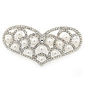Bridal Wedding Prom Silver Tone Pearl Diamante 'Heart' Barrette Hair Clip Grip - 65mm Across