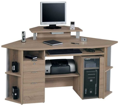 Buy jahnke cs450e sawn oak corner computer desk from our office desks tables range tesco - Tesco office desk ...