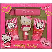 Hello Kitty Pink Love Gift Set 30ml Body Lotion + 30ml Shower Gel + 4.5g Lip Balm + Fruity Fragrance For Women