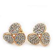 Gold Plated Swarovski Crystal 'Trinity Circles' Stud Earrings - 1.5cm
