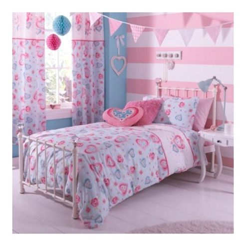 Catherine Lansfield Home Kids Sweethearts Double Bed Duvet Cover set Multi