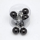 Pack of 10x 57mm Black Glass Baubles in a Shiny Finish