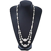 Long Antique White Ceramic, Pearl Glass, Metal Bead Necklace In Rhodium Plating - 72cm Length