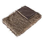 Tesco Warm Faux Fur Throw, Brown