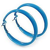 Large Sky Blue Enamel Hoop Earrings - 5.5cm Diameter