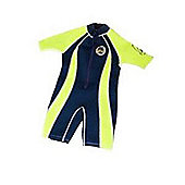 Jakabel Junior Boys Front Zip Shorty Wetsuit Navy/Neon - Blue