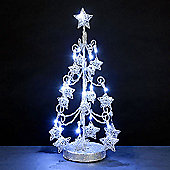 Battery Operated Silver Wire Christmas Tree 18in with Stars & 16 White LEDs