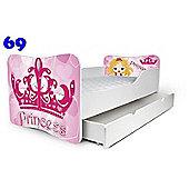 Toddler Bed With Drawer and Mattress - Princess (Medium)