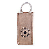Hessian Bottle Gift Bag with Festive Star Print