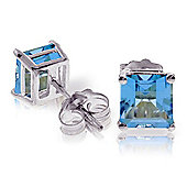 QP Jewellers 1.75ct Blue Topaz Princess Stud Earrings in 14K White Gold
