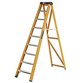 Heavy Duty 8 Tread GRP Fibreglass Swingback Step Ladder (Alloy Tread)