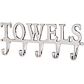 Towels - Wall Mounted Towel Rack / 5 Hooks - Silver