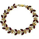 QP Jewellers 6in Citrine & Garnet Butterfly Bracelet in 14K Gold