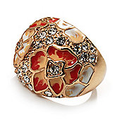 Dome Shaped Crystal Flower Ring (Gold Tone)