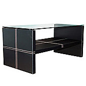 Edge - Contemporary Glass And Faux Leather Coffee Table - Black