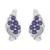 Gemondo Sterling Silver 0.87ct Natural Tanzanite & 1pt Diamond Hoop Earrings