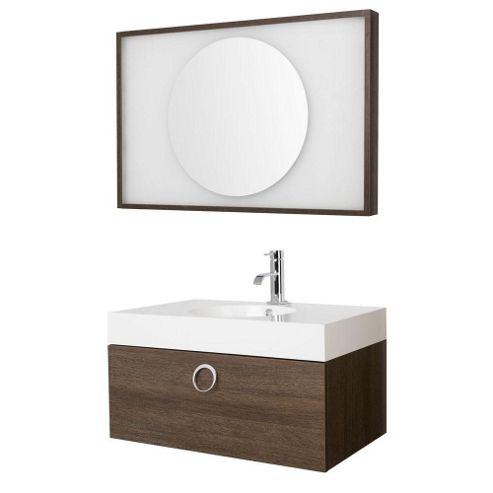Premier Sonar Furniture Pack Wall Mounted Basin and Cabinet Mirror Oak Finish 600mm