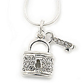 Silver Plated Diamante 'Key & Lock' Pendant Necklace - 40cm Length