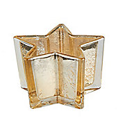 Gold Glass Star Christmas Tea Light Holder - Christmas Candle Holder